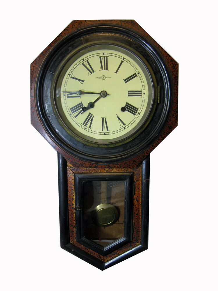 Trade S Mark Octagonal Mahogany Wall Clock Made In Japan