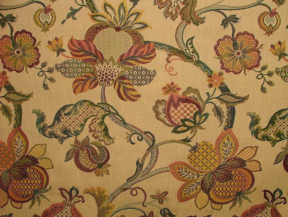 Jacobean Garden Gold Woven Tapestery Jacquard Curtain