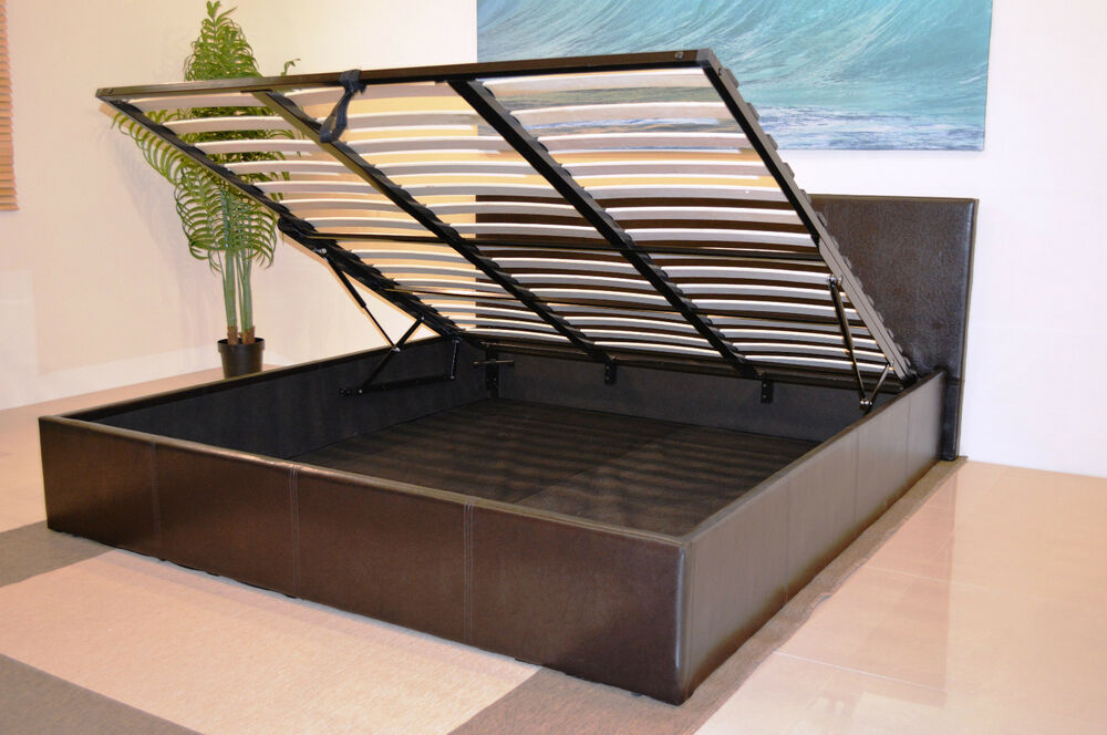 Storage ottoman gas lift up bed frame with mattress choice for Divan bed frame with storage