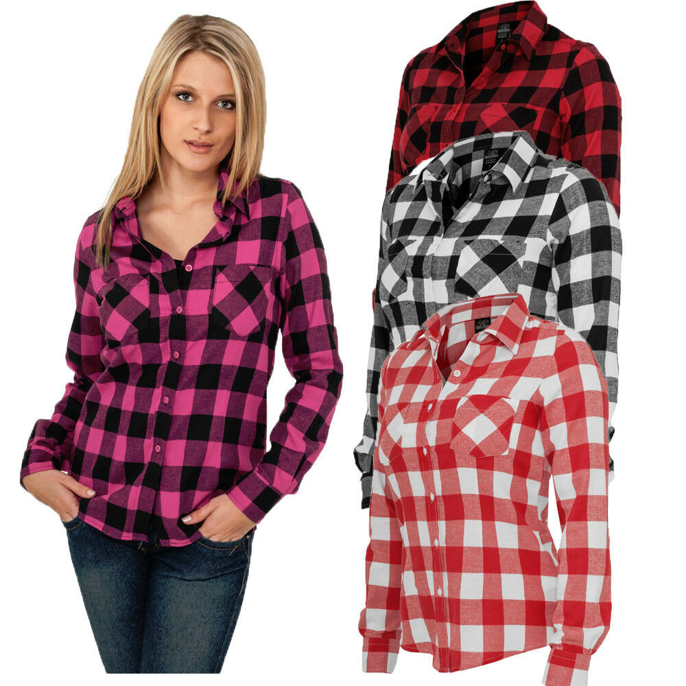 Urban classics women 39 s checked flannel shirt blouse Womens red plaid shirts blouses