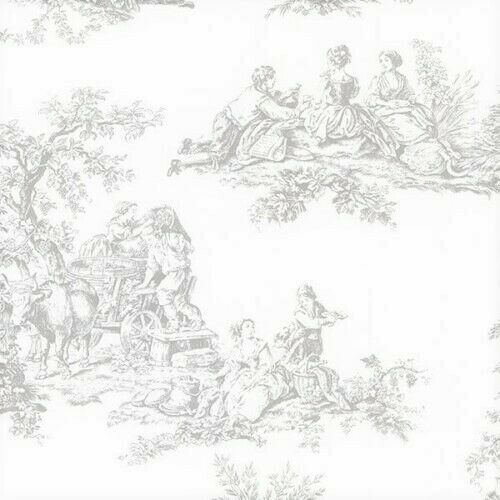 Grey Colonial Toile On Soft White Wallpaper Ch28245 Ebay