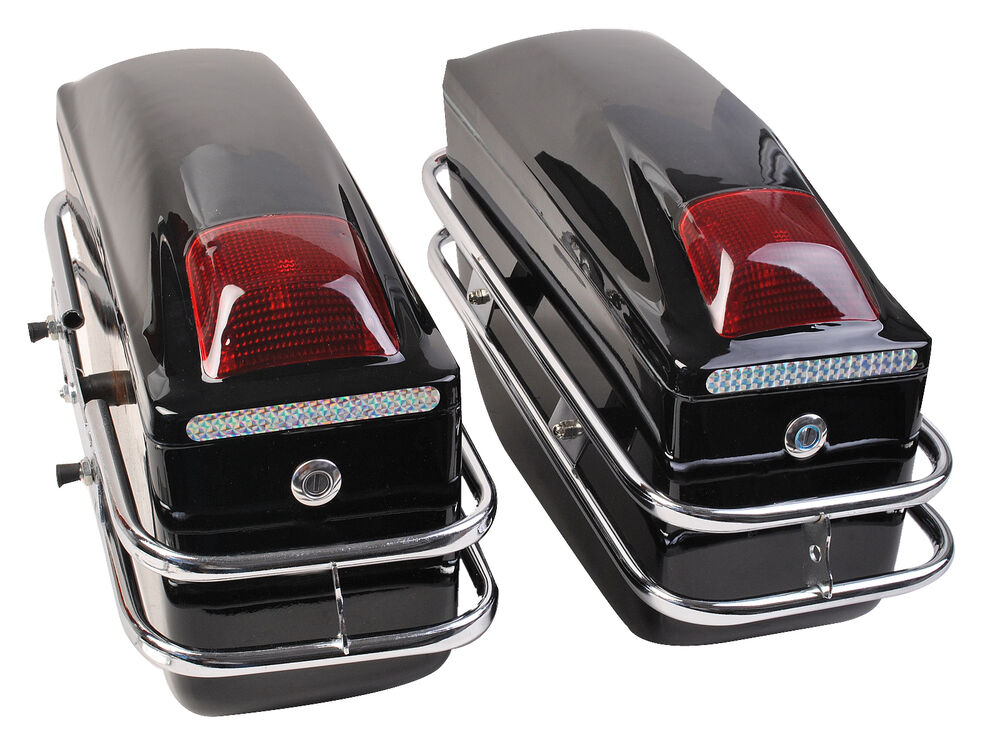Motorcycle cruiser hard trunk saddle bags trunk luggage w for Motor cycle saddle bags