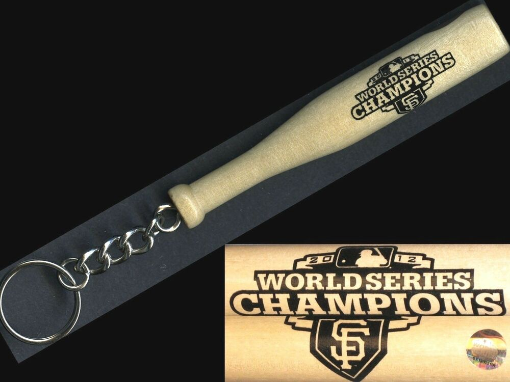 san francisco giants 2012 world series champions new key chain w mini wood bat ebay. Black Bedroom Furniture Sets. Home Design Ideas