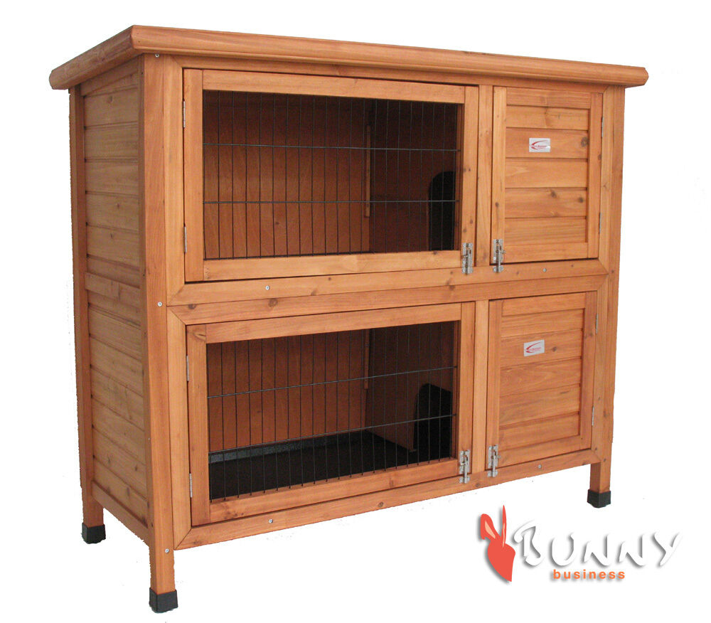 Rabbit hutch hutches deluxe double rabbit guinea pig for Free guinea pig hutch