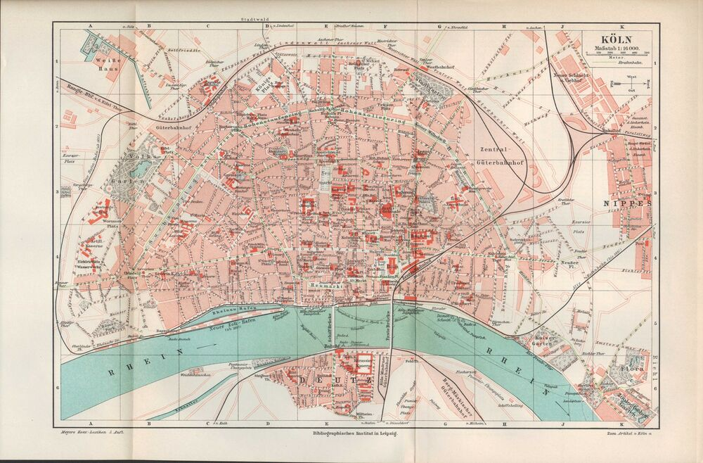 landkarte city map 1897 stadtplan k ln fluss rhein. Black Bedroom Furniture Sets. Home Design Ideas