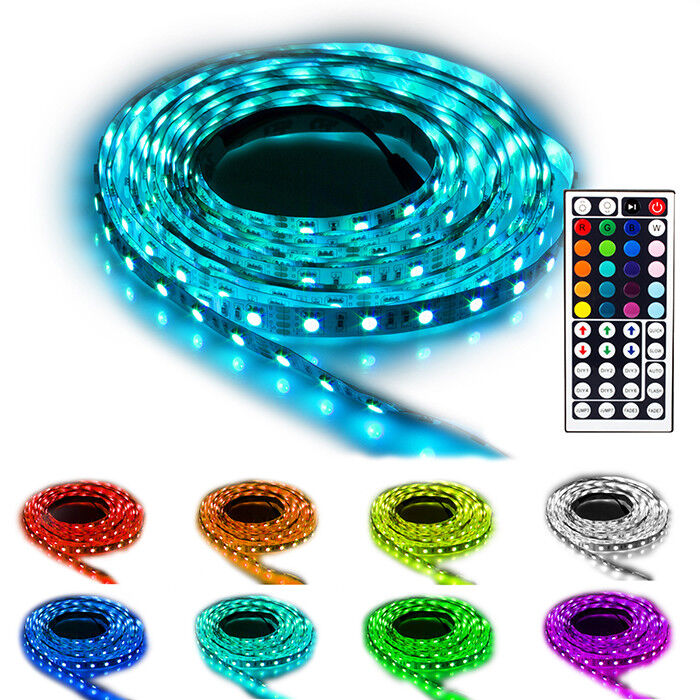 ninetec flash60 5m led stripe band kette rgb 44 key fernbedienung dimmbar ip20 ebay. Black Bedroom Furniture Sets. Home Design Ideas