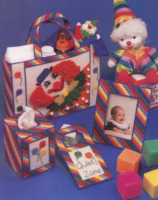 My First Room Toddler 3 Piece Room In A Box: Baby Nursery Clown Set Tote Frame Tissue Sign Plastic