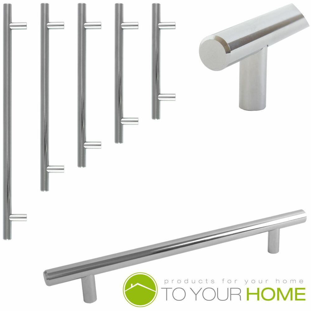 Kitchen Cabinet Handles Uk Only: T Bar Solid Chrome Kitchen Cupboard Cabinet Drawer Door