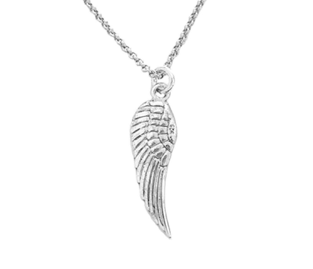 Sterling Silver Angel Wing Necklace 25mm 18 Quot Ebay