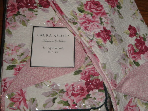 Laura Ashley Lidia Pink Floral Roses Full Queen 3p Quilt Set Cottage Chic Shabby Ebay