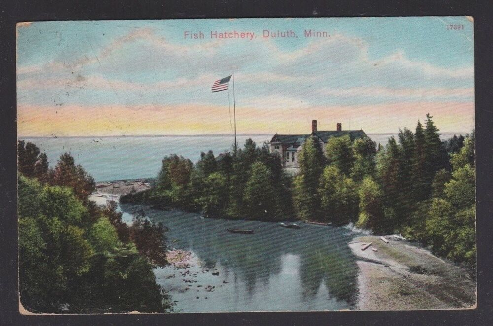 Usa 1908 fish hatchery in duluth minnesota to deer river for Fishing in duluth mn