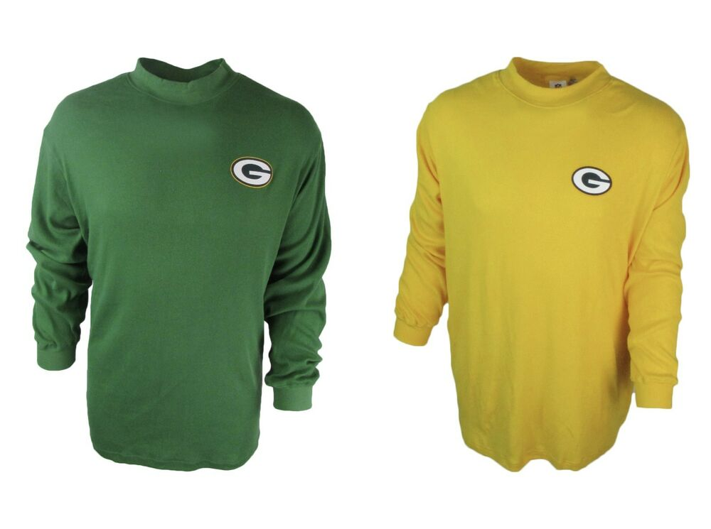Green bay packers big tall long sleeve mock turtle neck for Big and tall mock turtleneck shirt