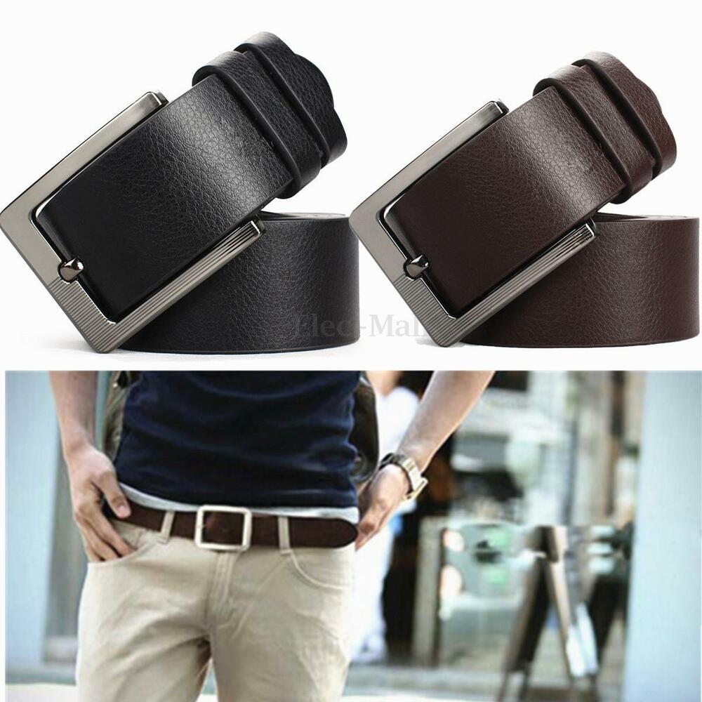 Fashion Men's WaistBand Leather Classic Casual Dress Pin ...
