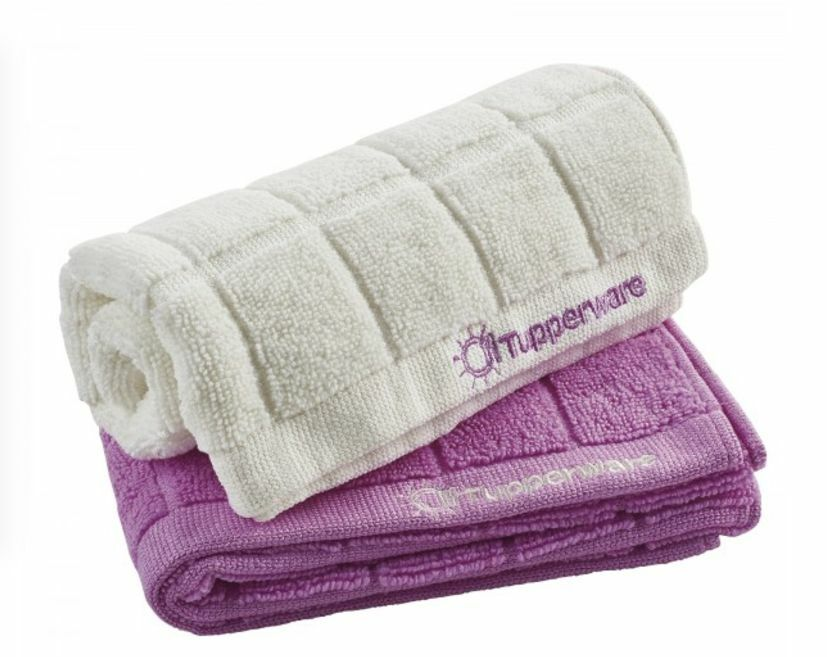 Tupperware Microfiber Kitchen 15 X25 Towels Set Of 2 Orchid White Sealed New Ebay