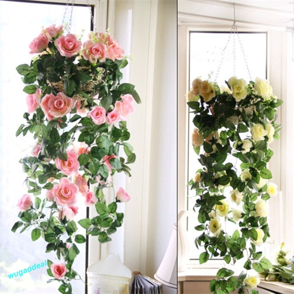 Artificial fake silk rose flower ivy vine hanging garland for Artificial flowers for wedding decoration