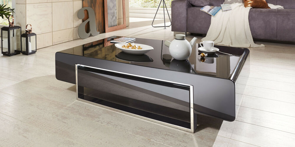 couchtisch schwarz hochglanz mit schublade case wohnzimmertisch chrom modern ebay. Black Bedroom Furniture Sets. Home Design Ideas