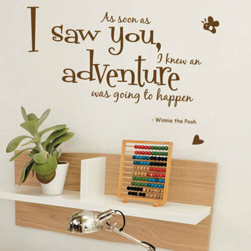 Winnie The Pooh Aa Soon As I Saw Children Art Wall Quote Stickers Wall  Decals | EBay