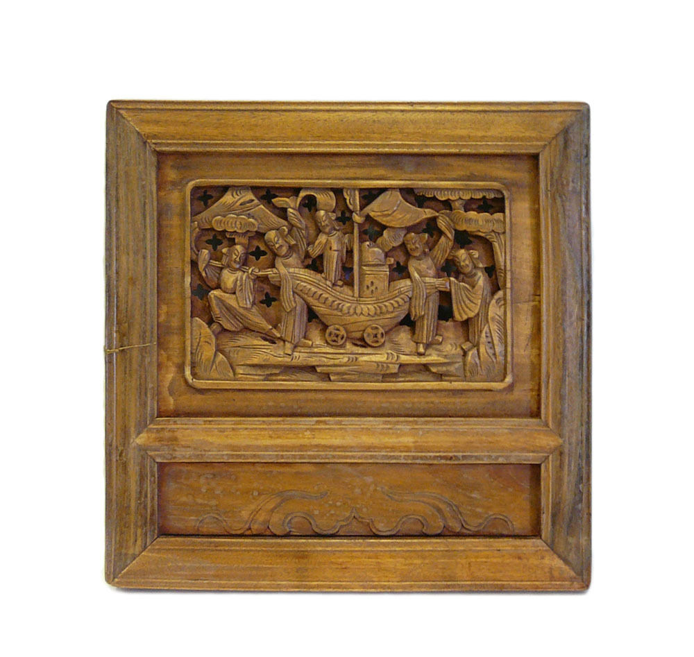 Vintage Chinese Carved Wood Wall Decor Plaque Cs699 4 EBay
