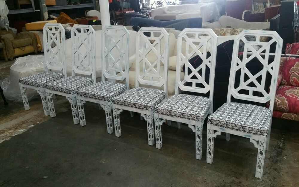 BEST 6 70'S TALL BACK CHINESE CHIPPENDALE FRET WORK DINING ...