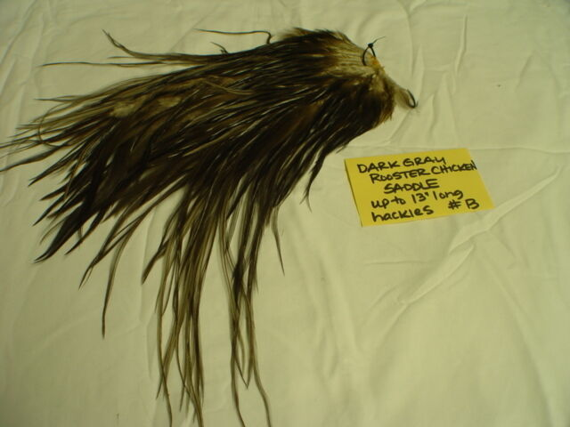 Whiting dark gray rooster chicken saddle feathers hackles for Fly fishing feathers