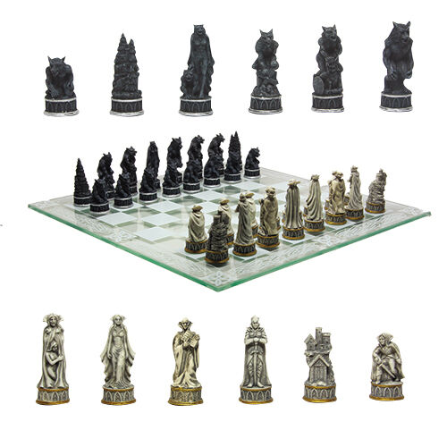 Vampire vs werewolf chess set collectible with glass chessboard gorgeous 9381 ebay - Collectible chess sets ...