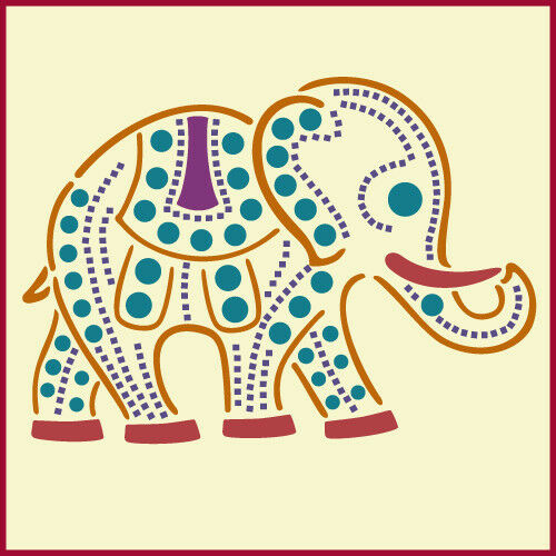 Indian elephant stencil animal stencils the artful for Arts and crafts stencils craftsman