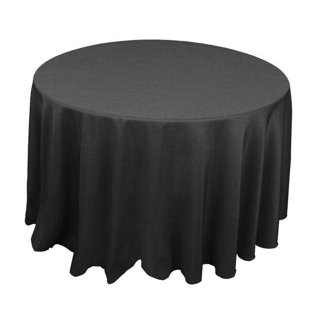 Black 120 in round polyester tablecloth tablecloths for 120 round table cloths