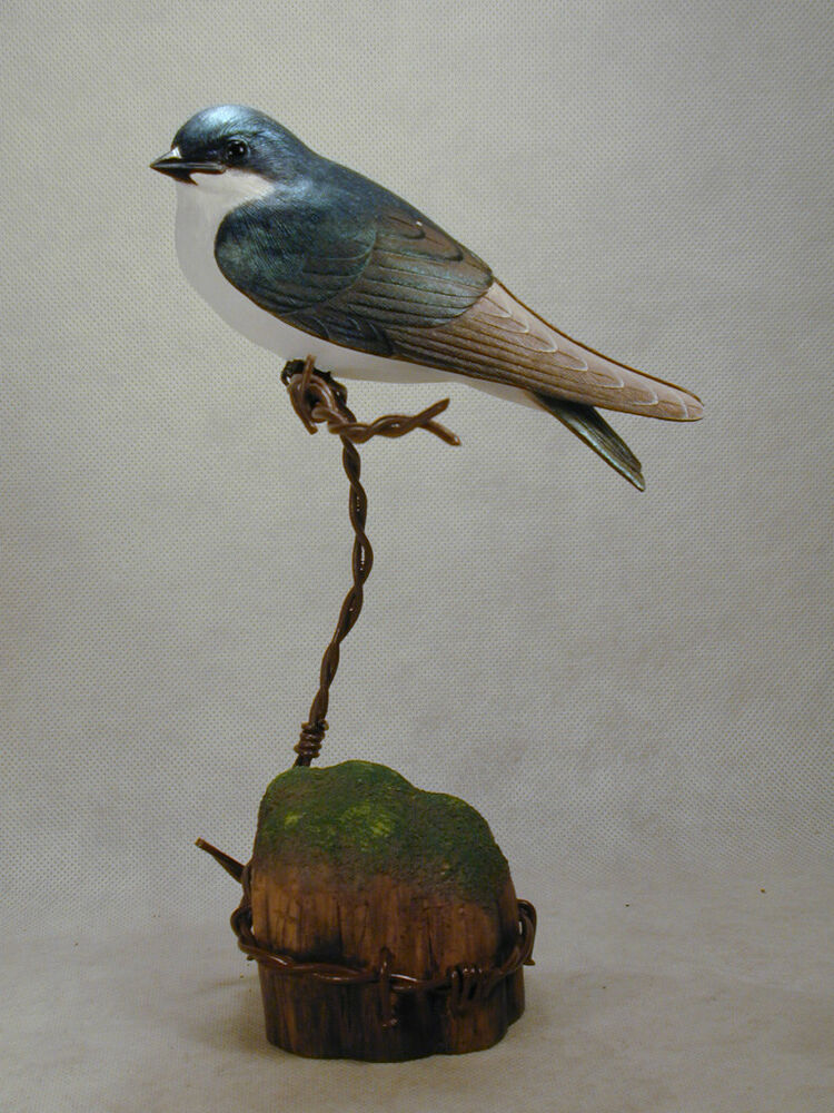Tree swallow original bird wood carving ebay