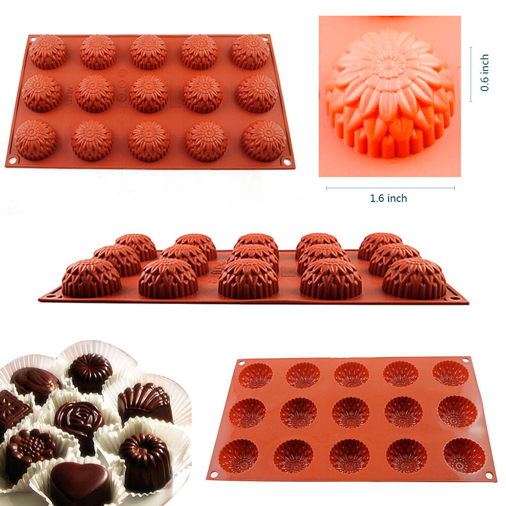15-Cavity Silicone Cake Decorating Mould Candy Cookie ...