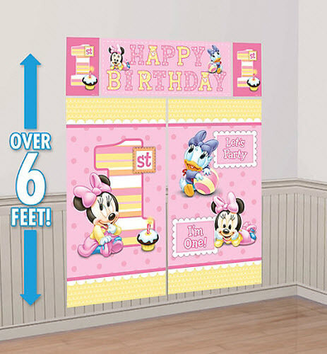 Baby minnie mouse girl 39 s 1st happy birthday scene setter for Baby minnie mouse party decoration
