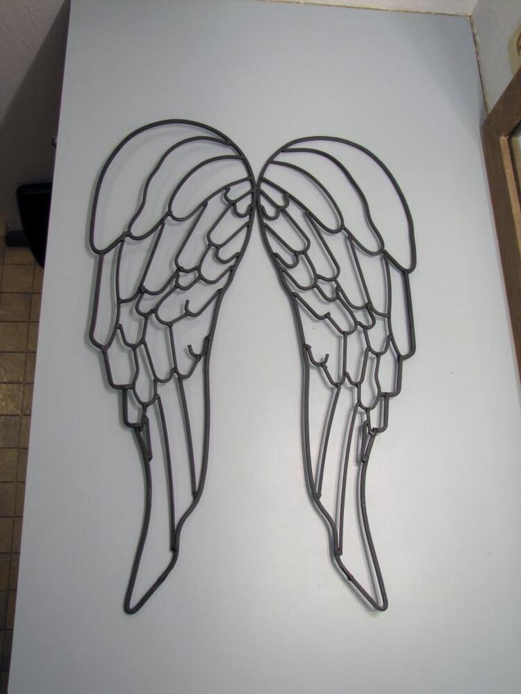 Large wrought iron metal art angel wings garden wall decor for Angel wings wall decoration uk