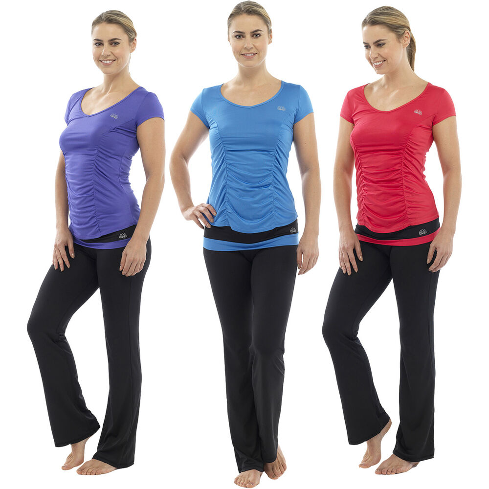 Ladies Fitness Yoga Pants T-Shirt Top Gym Exercise 3/4