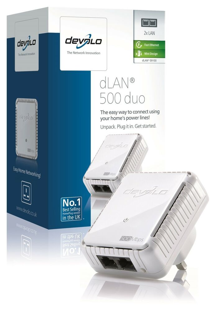 devolo 9100 powerline dlan 500 duo add on adapter 2 lan ports minor box mark ebay. Black Bedroom Furniture Sets. Home Design Ideas