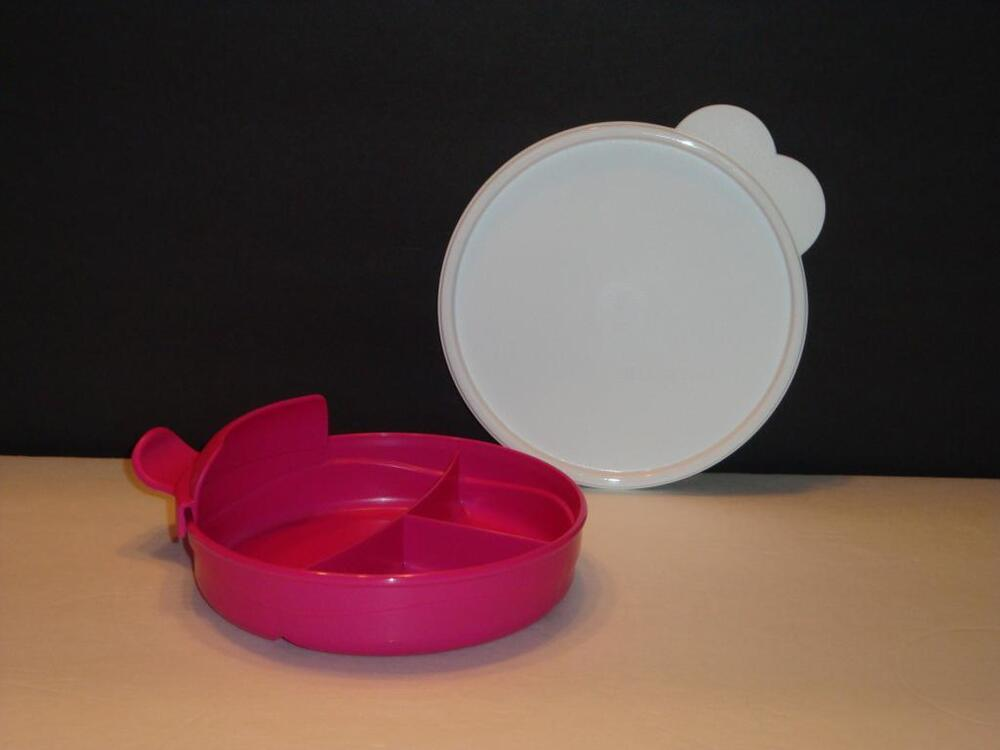 Tupperware Pink Baby Stages Divided Bowl Set Handle