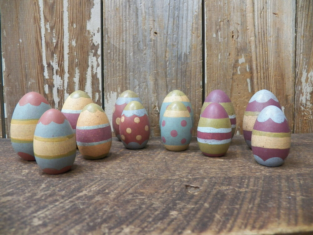 Primitive set lot 12 decorated patterned wood wooden - Painted wooden easter eggs ...