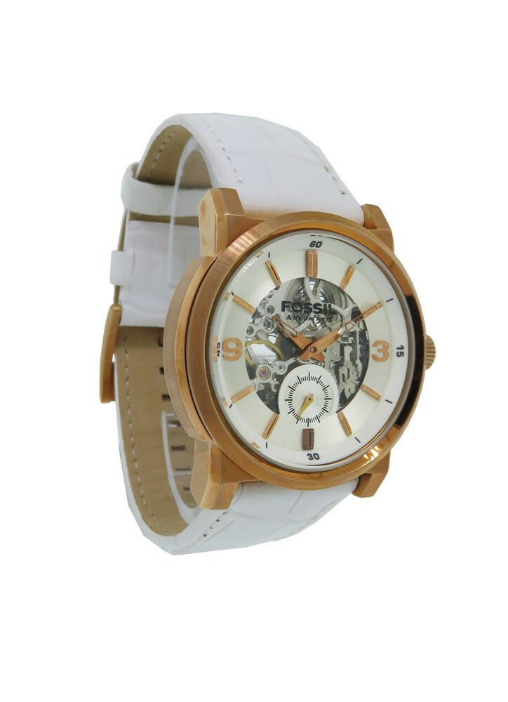 fossil me3002 men 39 s round rose gold tone white leather automatic watch ebay. Black Bedroom Furniture Sets. Home Design Ideas