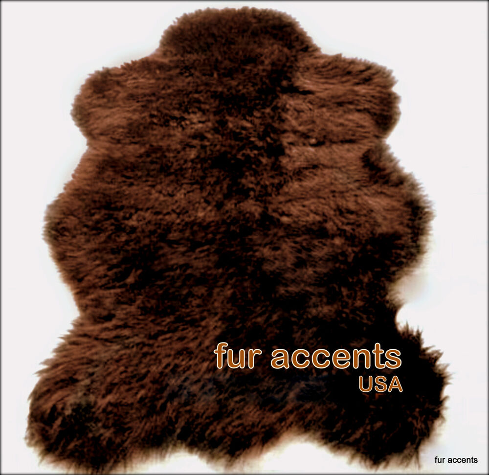 shaggy shag sheepskin throw faux fur bear skin rug plush brown log cabin carpet ebay. Black Bedroom Furniture Sets. Home Design Ideas