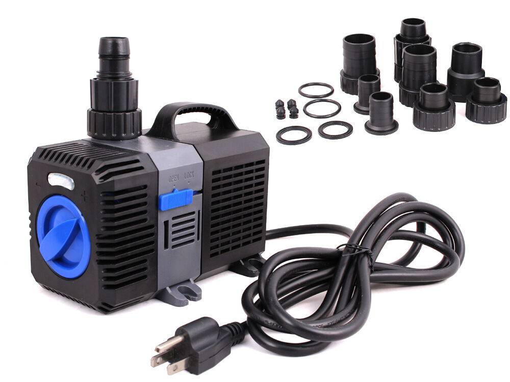 1375 gph pond pump adjustable submersible inline fountain for Submersible pond pump with filter