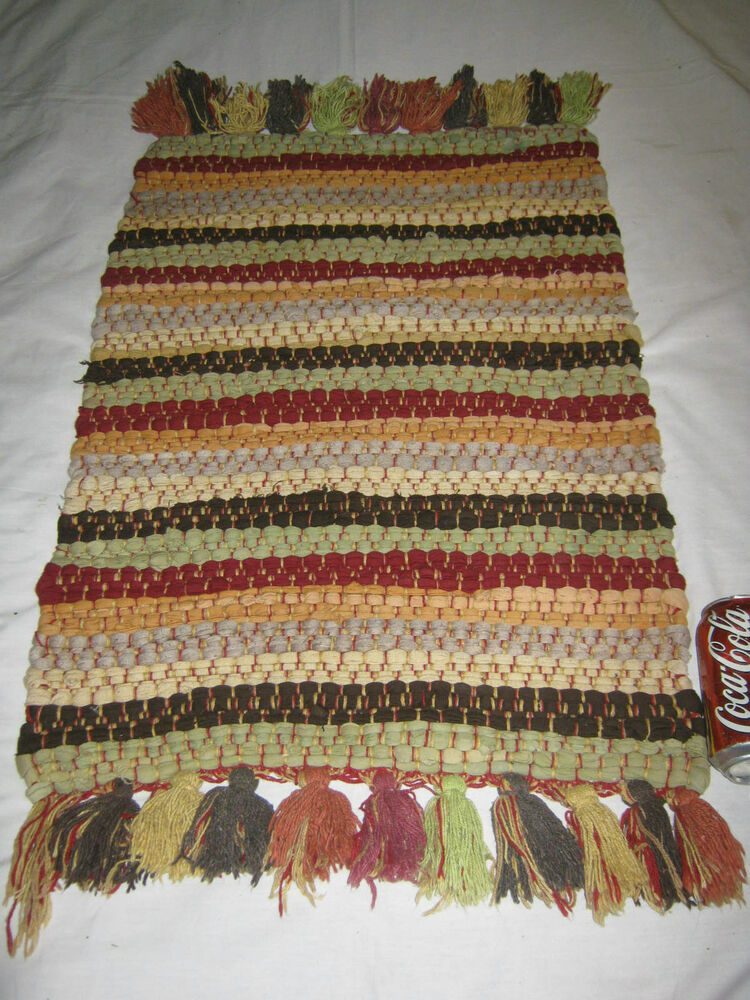 Antique 2 Colorful Woven Textile Wall Art Rag Rug Home Office Braided Carpet Ebay