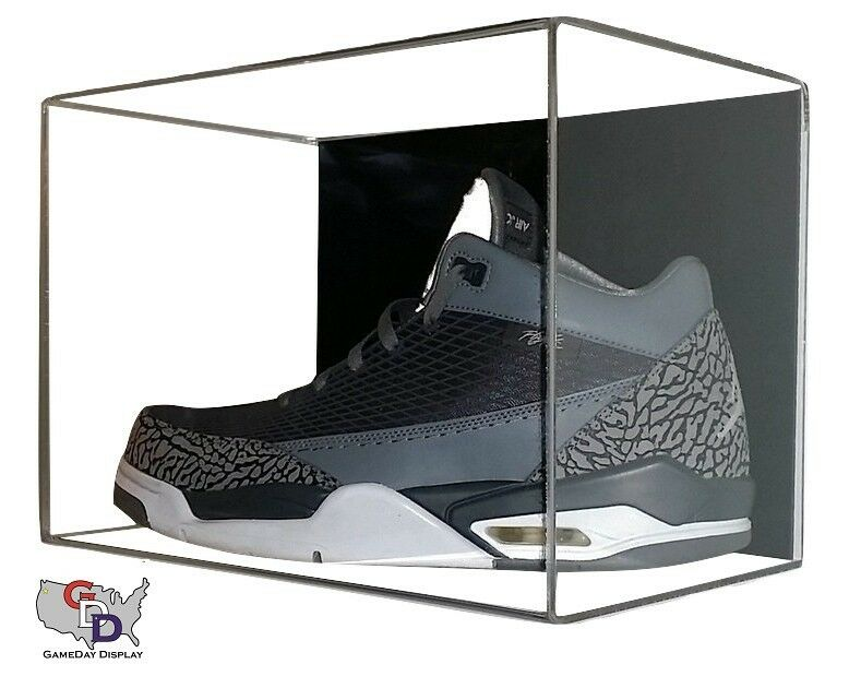 shoe acrylic display case wall mount small uv protection basketball football a ebay. Black Bedroom Furniture Sets. Home Design Ideas