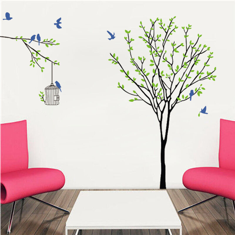 Diy mural large birdcage birds tree wall decals sticker for Diy tree wall mural
