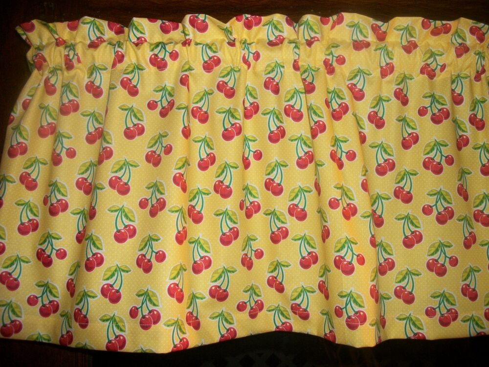Red Cherries Fruit Yellow Polka Dot Waverly Fabric Curtain