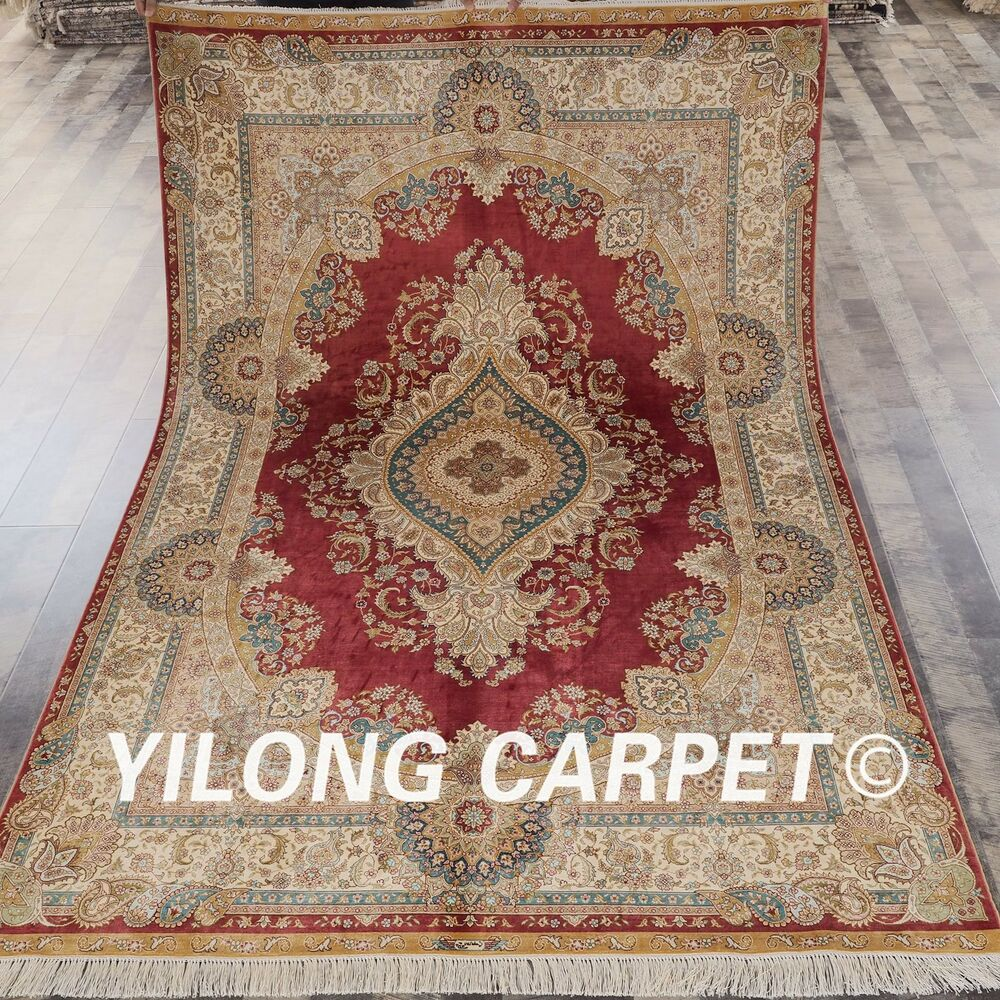 Oriental Rugs: Traditional Kashmir Silk Handmade Hand Knotted Persian
