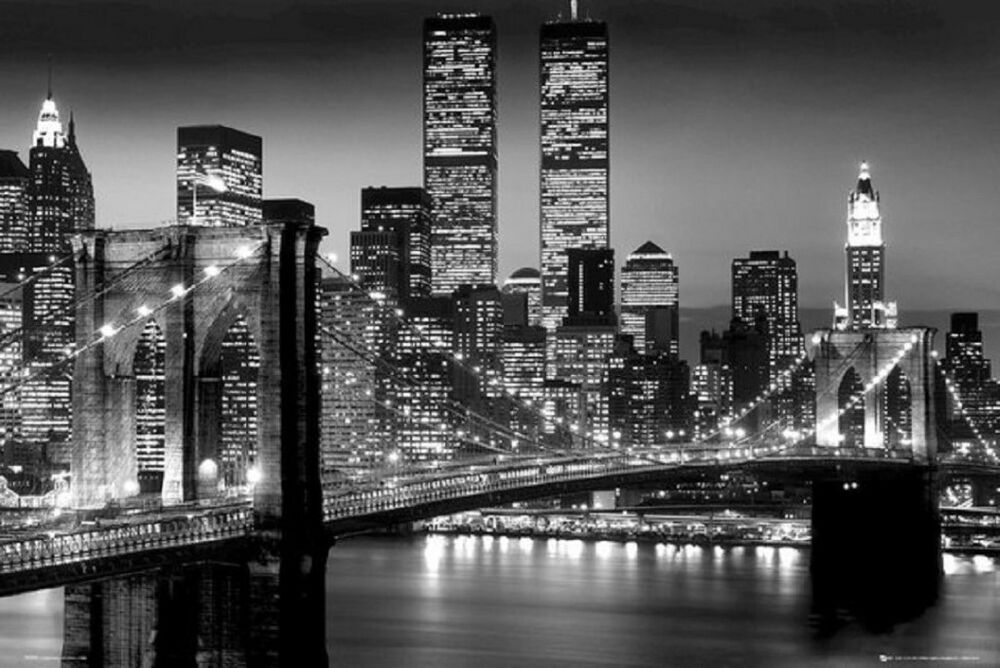 new york brooklyn bridge manhattan at night poster art print 24x36 ebay. Black Bedroom Furniture Sets. Home Design Ideas