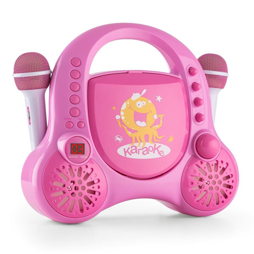 girls pink portable karaoke party system kids fun singing music audio cd player ebay. Black Bedroom Furniture Sets. Home Design Ideas