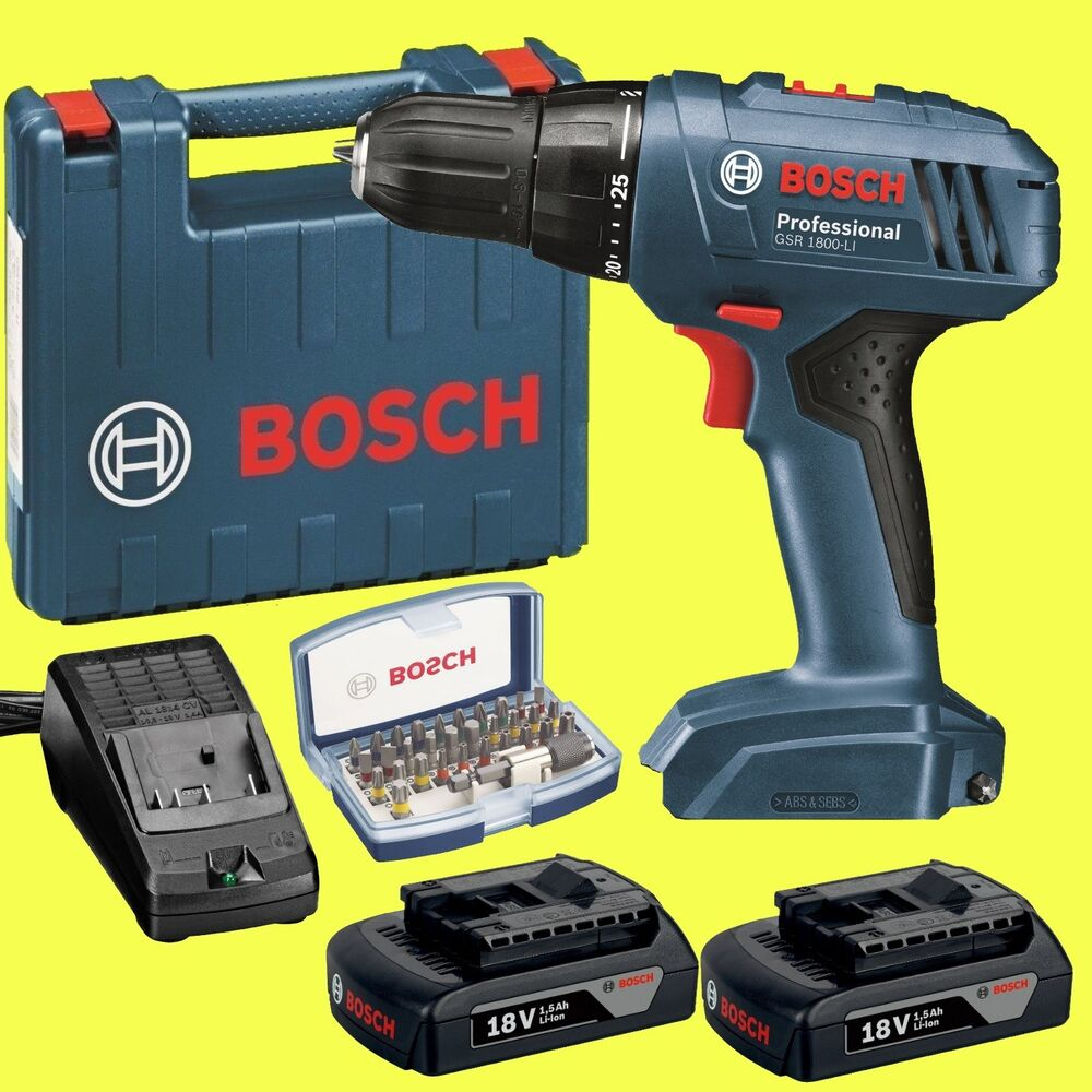 bosch akku schrauber gsr 1800 li 18 volt akkuschrauber bit set 32 ebay. Black Bedroom Furniture Sets. Home Design Ideas