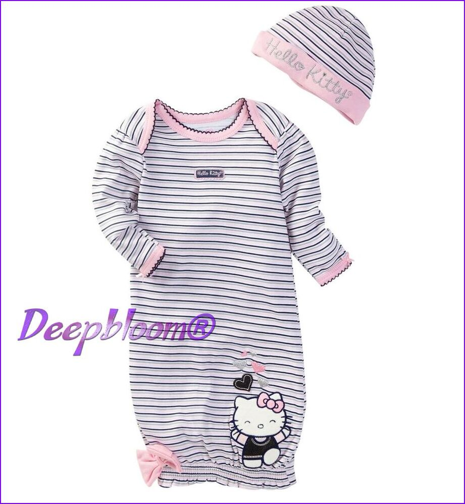 HELLO KITTY SLEEPWEAR BABY PAJAMA SET GOWN CAP SET GIRLS ...