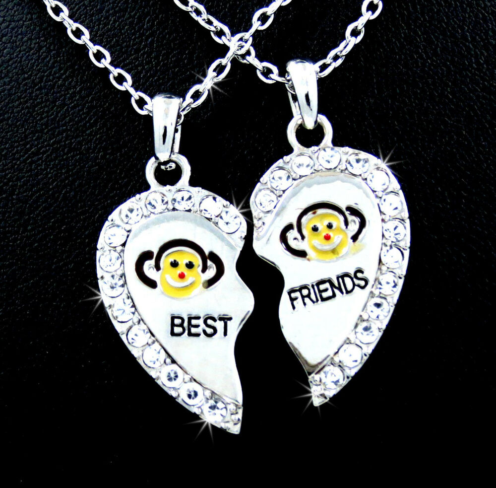 Popular Charm Bracelets 2: BEST FRIEND Heart Monkey Silver Tone 2 Charm 2 Necklaces