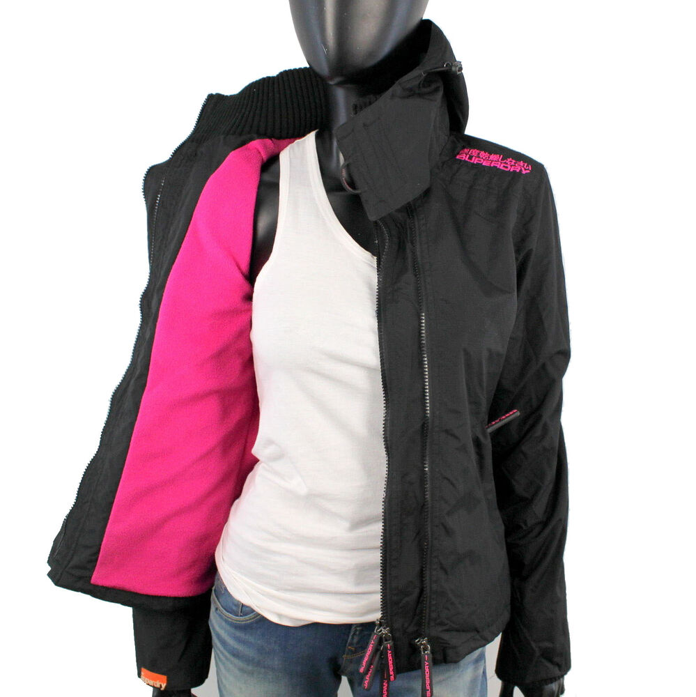superdry damen arctic polar windcheater jacke xs s m l xl fleece black pink s1 ebay. Black Bedroom Furniture Sets. Home Design Ideas