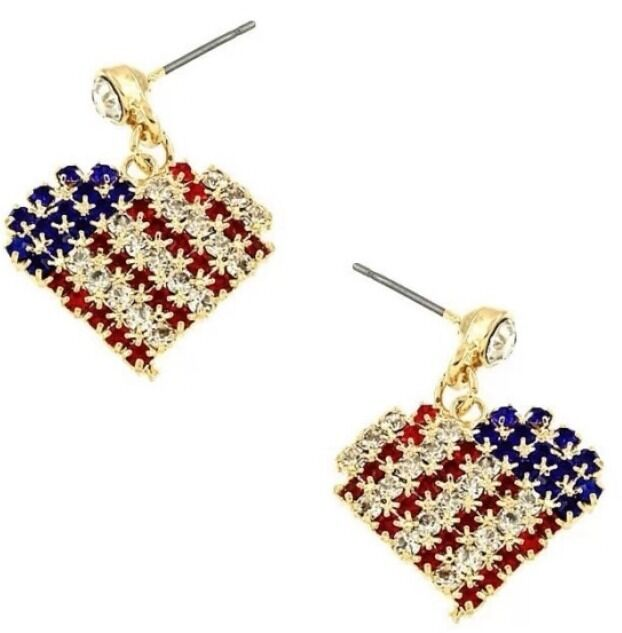 4th of july earrings patriotic 4th of july white blue rhinestone 8312